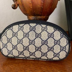 Authentic Vintage Gucci Blue Monogram Cosmetic Bag